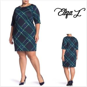Elbow Sleeve Printed Shift Dress (Plus Size)